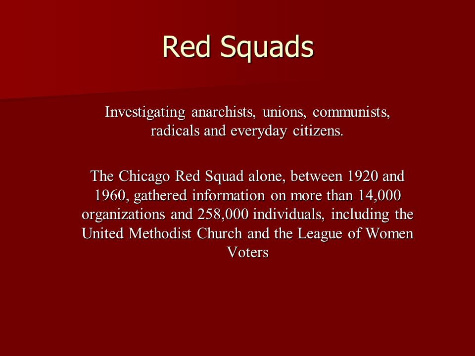 Red Squads Investigating anarchists, unions, communists, radicals and everyday citizens.