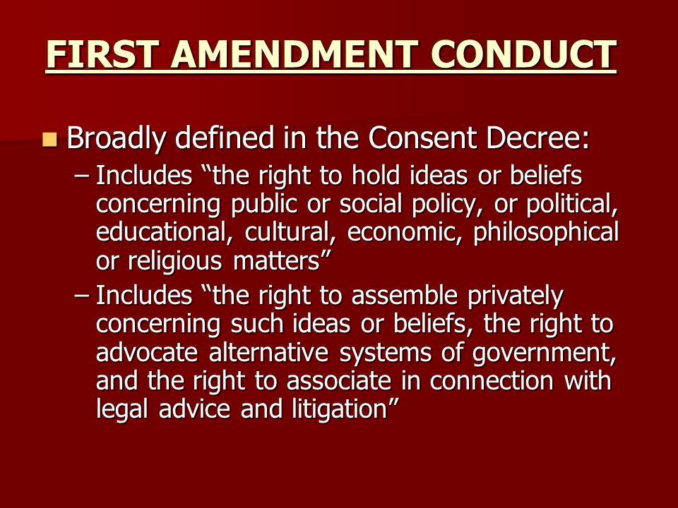 FIRST AMENDMENT CONDUCT