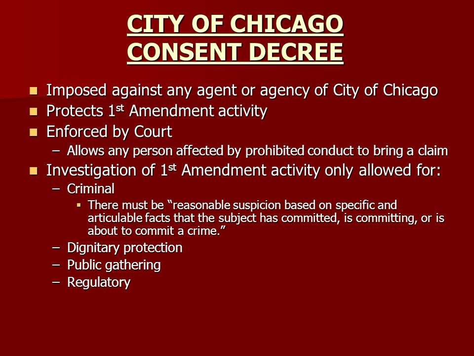 CITY OF CHICAGO CONSENT DECREE