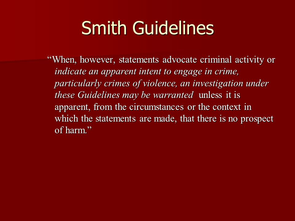 Smith Guidelines
