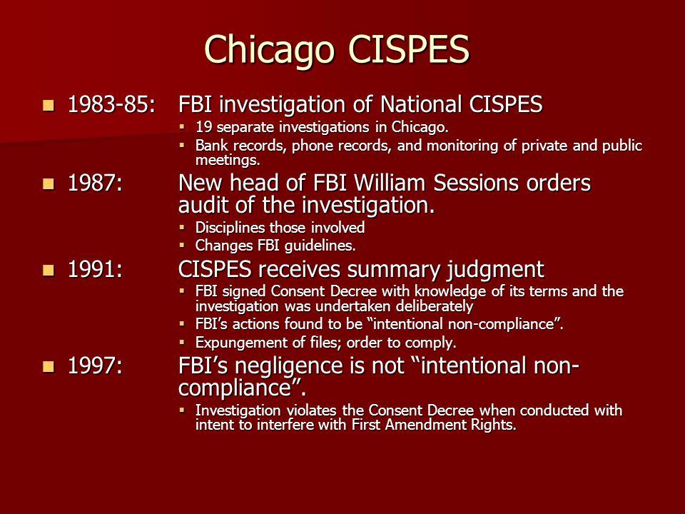 Chicago CISPES 1983-85: FBI investigation of National CISPES