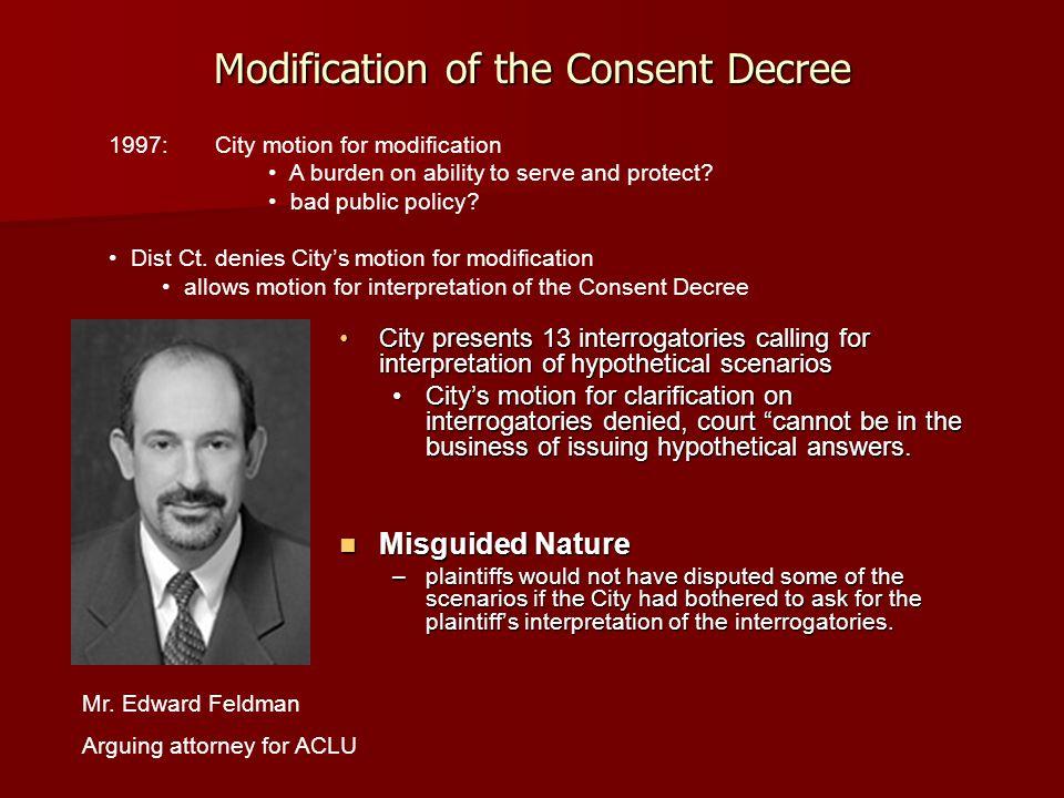 Modification of the Consent Decree