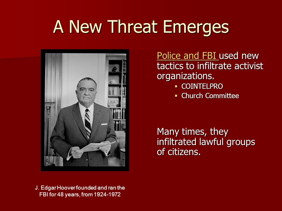 J. Edgar Hoover founded and ran the FBI for 48 years, from 1924-1972