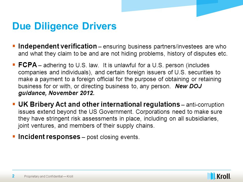 Due Diligence Drivers