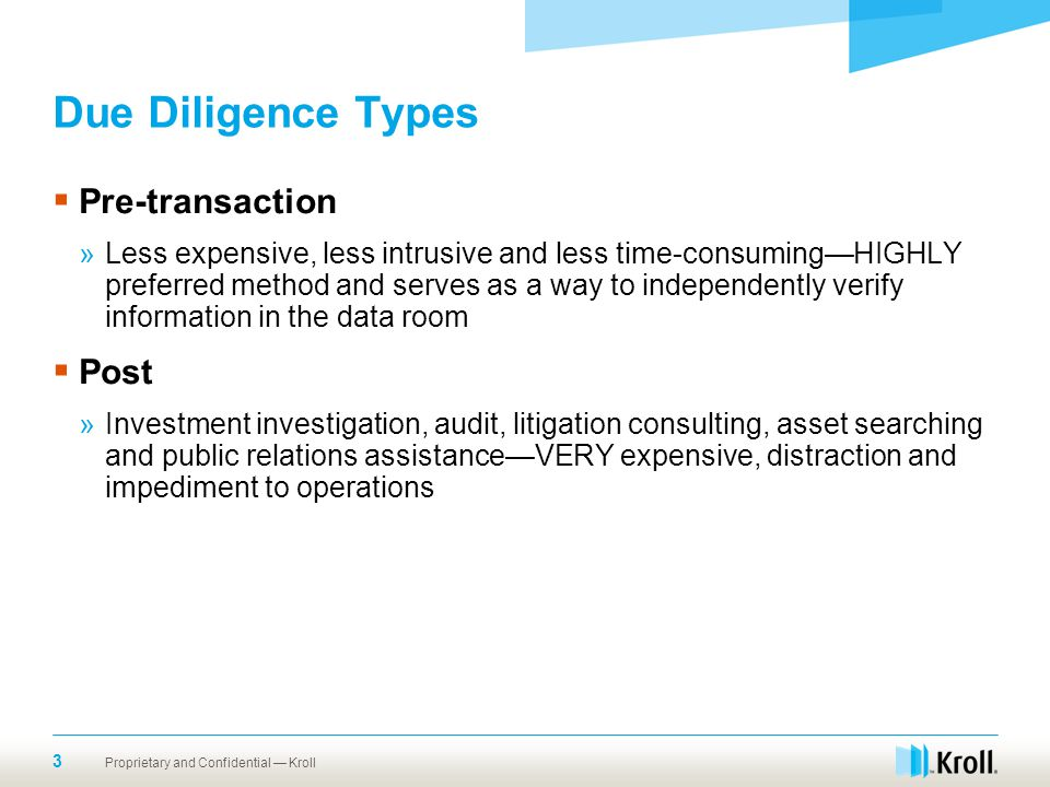 Due Diligence Types Pre-transaction Post