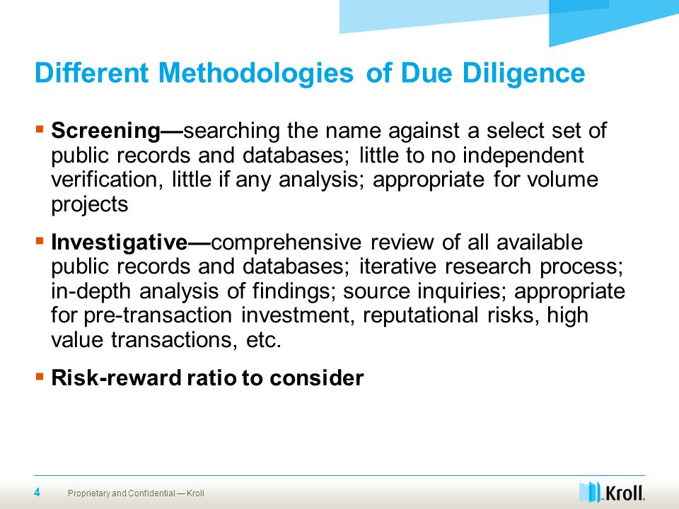 Different Methodologies of Due Diligence