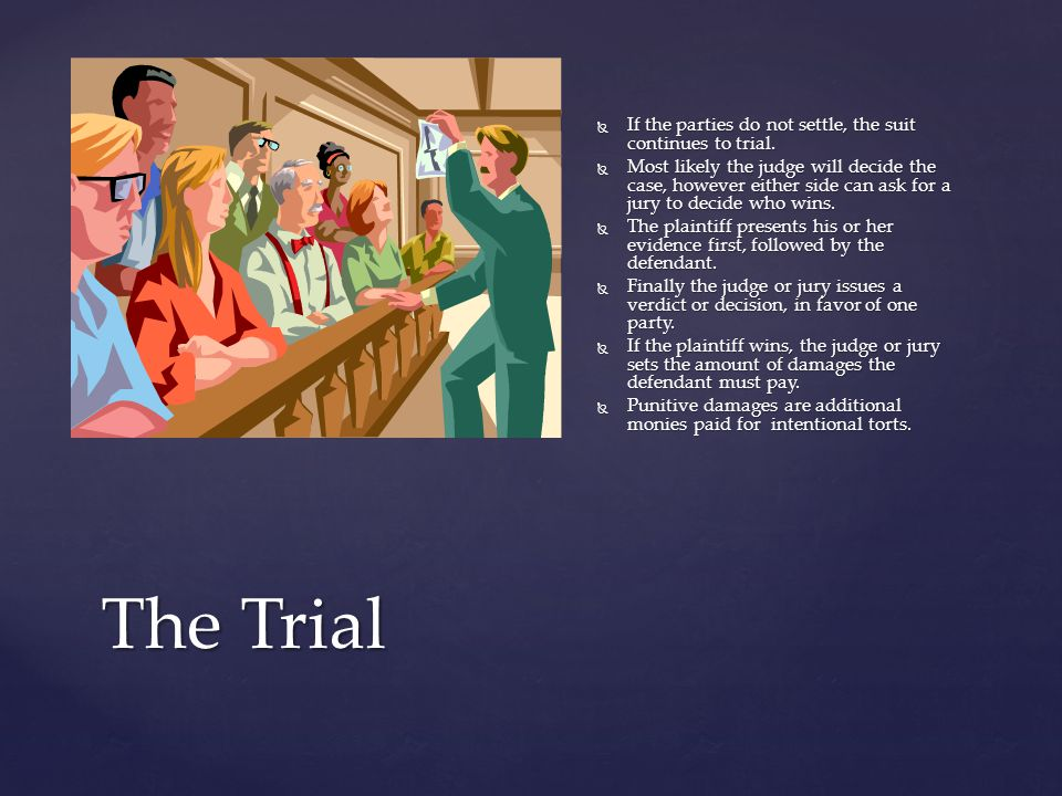 The Trial If the parties do not settle, the suit continues to trial.