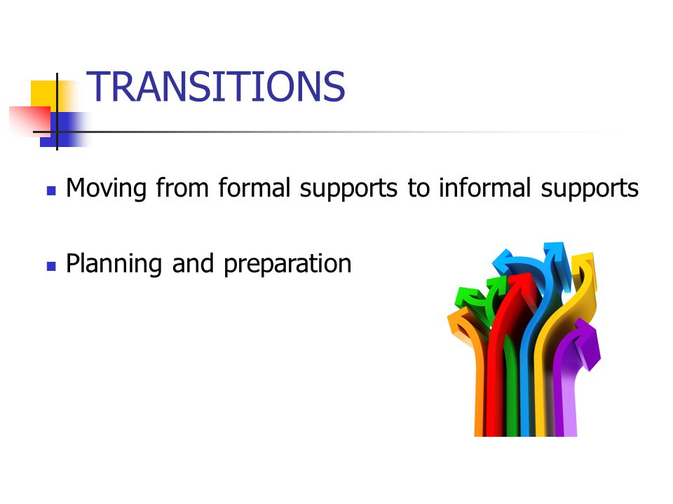 TRANSITIONS Moving from formal supports to informal supports