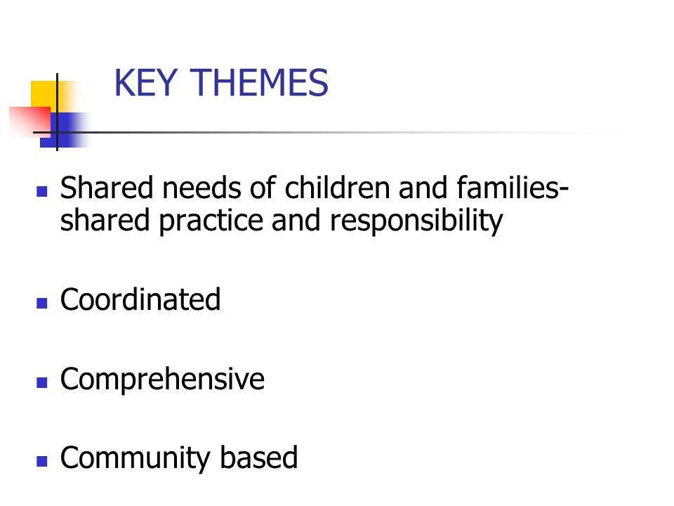 KEY THEMES Shared needs of children and families-shared practice and responsibility. Coordinated. Comprehensive.