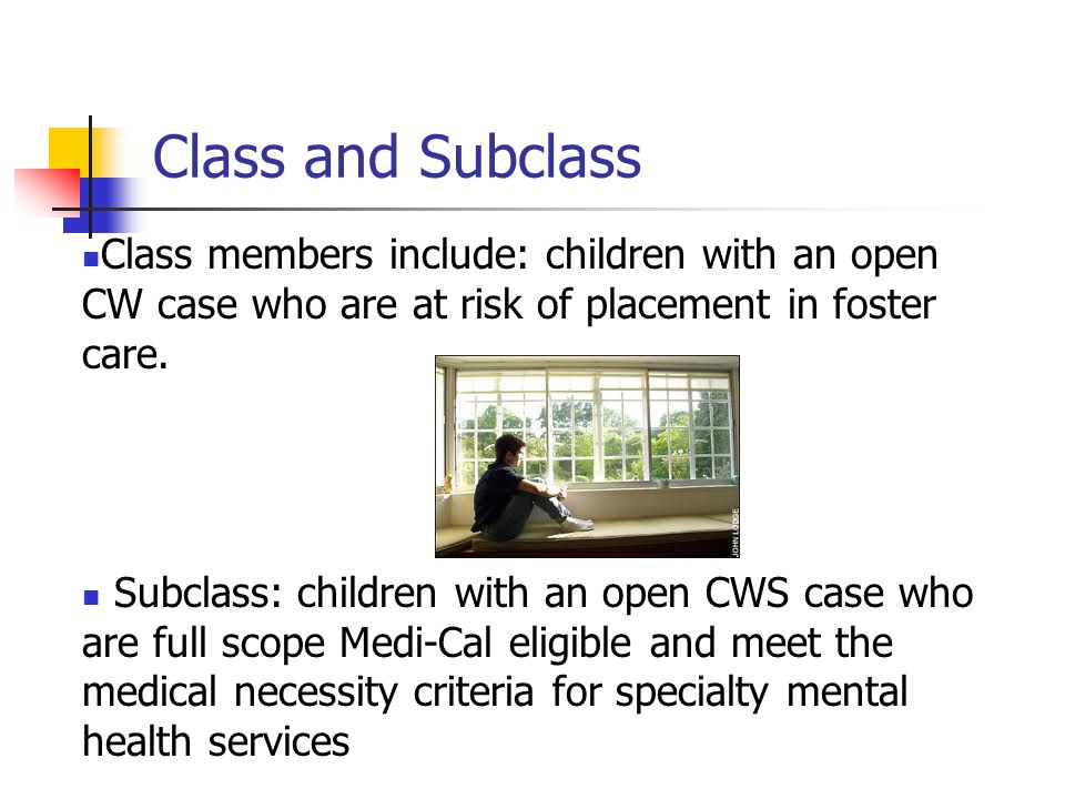 Class and Subclass Class members include: children with an open CW case who are at risk of placement in foster care.