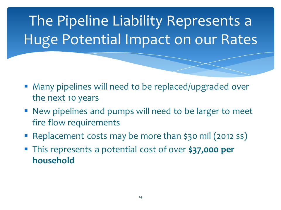 The Pipeline Liability Represents a Huge Potential Impact on our Rates
