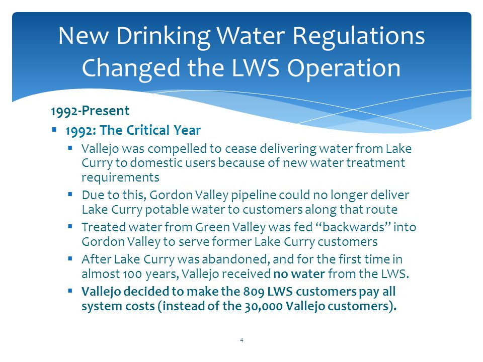 New Drinking Water Regulations Changed the LWS Operation