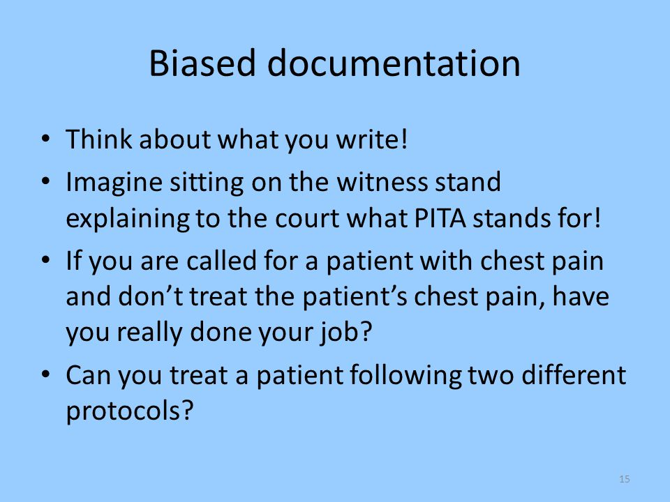 Biased documentation Think about what you write!