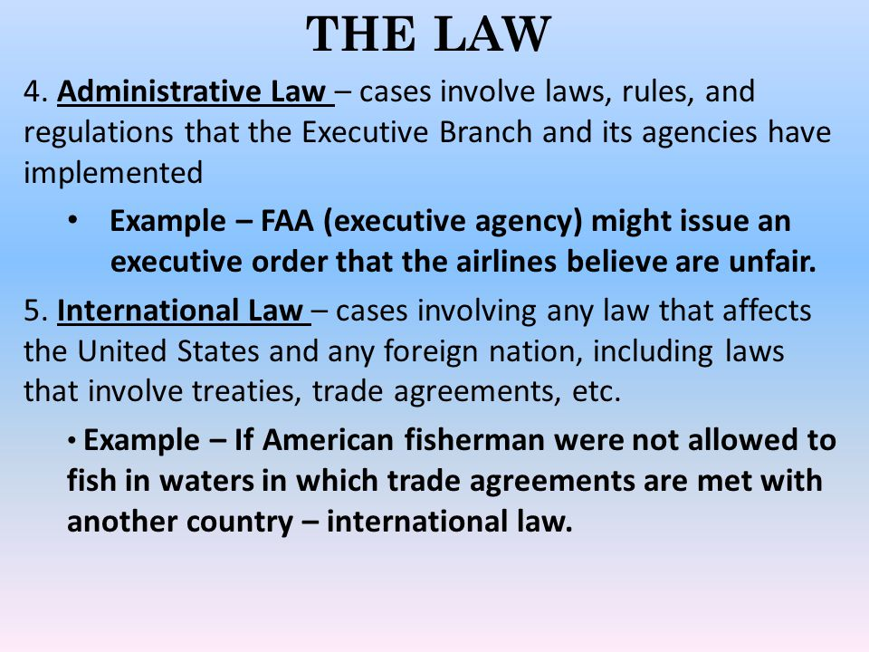 THE LAW 4. Administrative Law – cases involve laws, rules, and regulations that the Executive Branch and its agencies have implemented.
