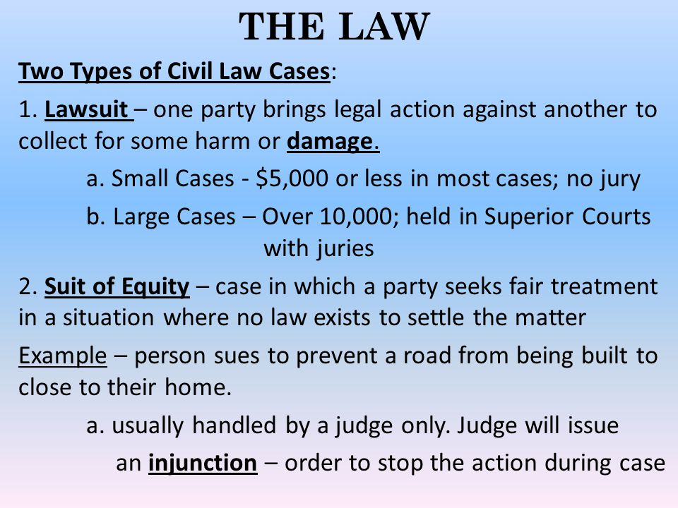 THE LAW Two Types of Civil Law Cases:
