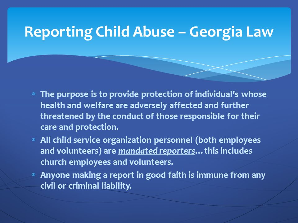 Reporting Child Abuse – Georgia Law
