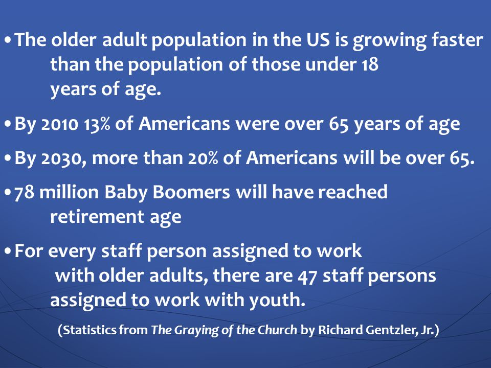 (Statistics from The Graying of the Church by Richard Gentzler, Jr.)