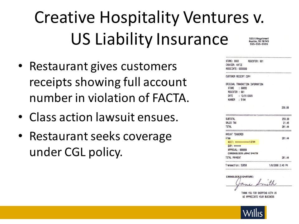 Creative Hospitality Ventures v. US Liability Insurance