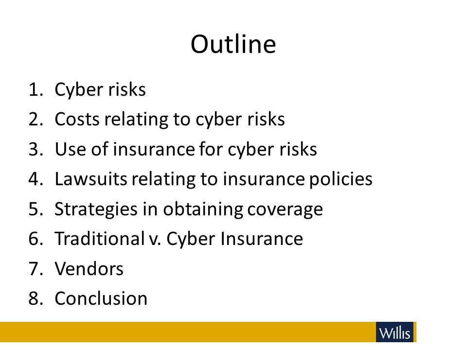 Outline Cyber risks Costs relating to cyber risks