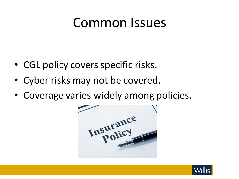 Common Issues CGL policy covers specific risks.