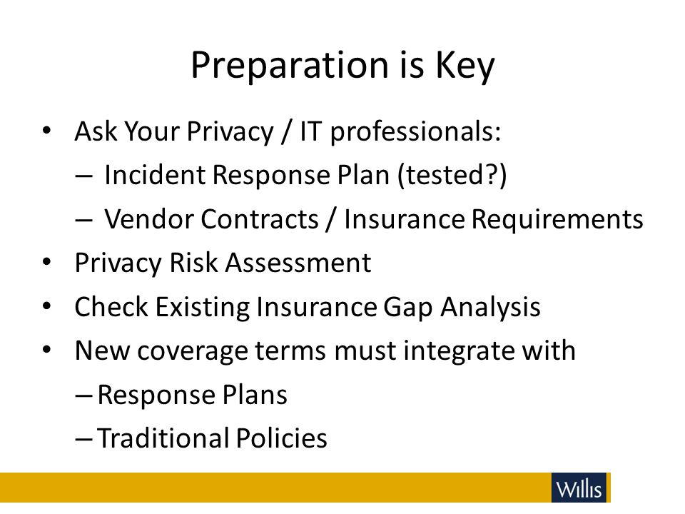 Preparation is Key Ask Your Privacy / IT professionals: