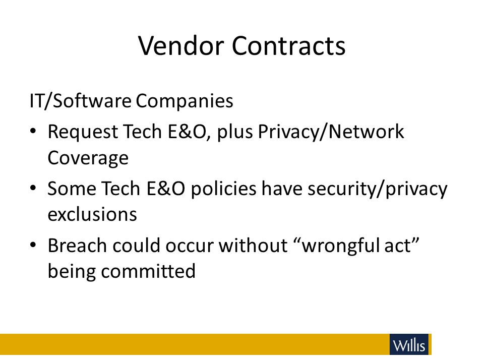 Vendor Contracts IT/Software Companies