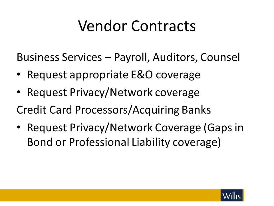 Vendor Contracts Business Services – Payroll, Auditors, Counsel