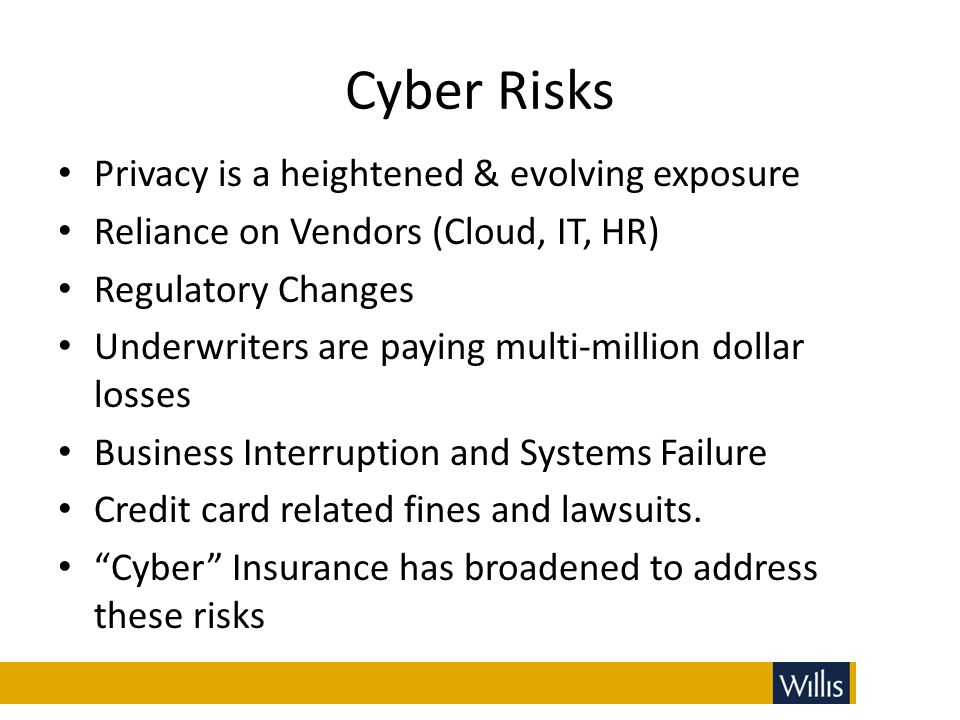 Cyber Risks Privacy is a heightened & evolving exposure