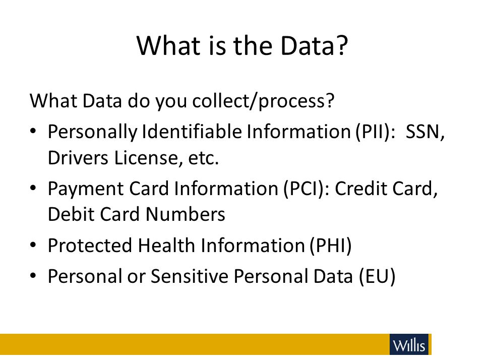 What is the Data What Data do you collect/process