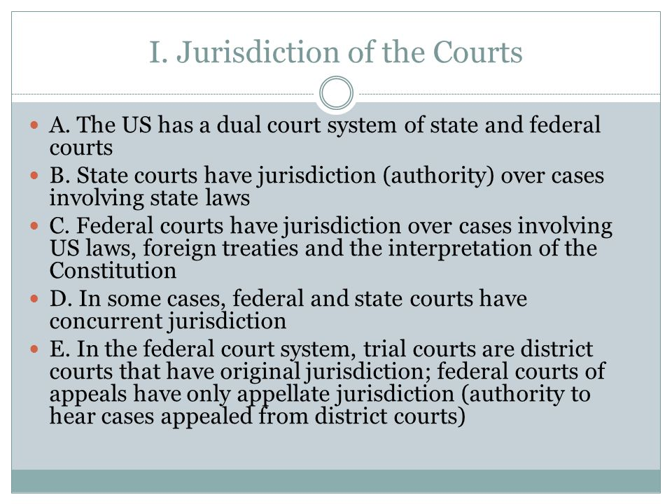 I. Jurisdiction of the Courts