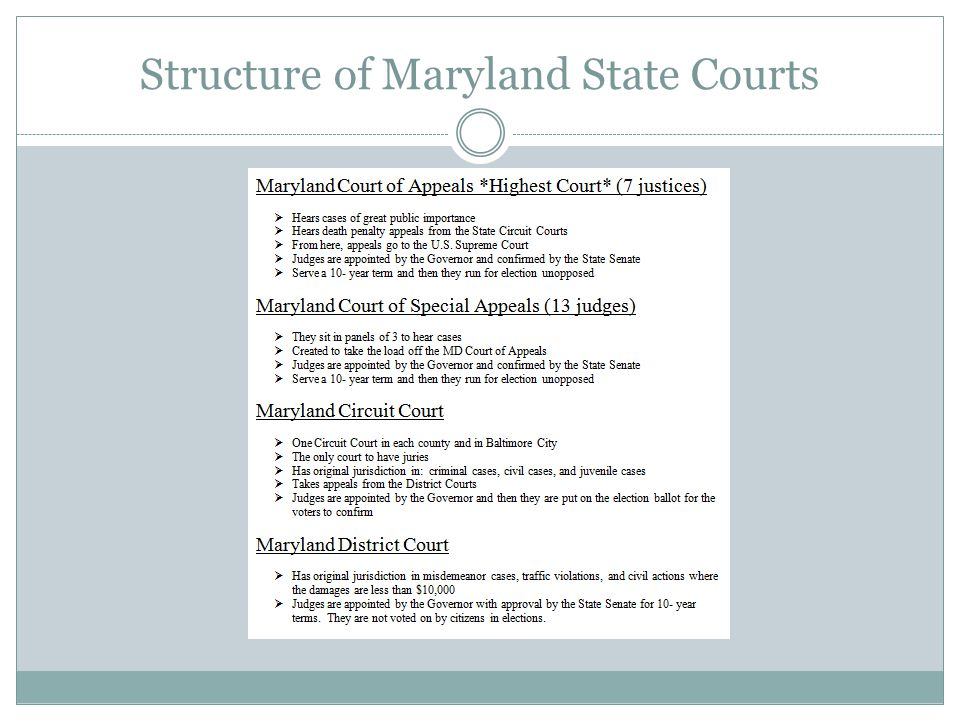 Structure of Maryland State Courts