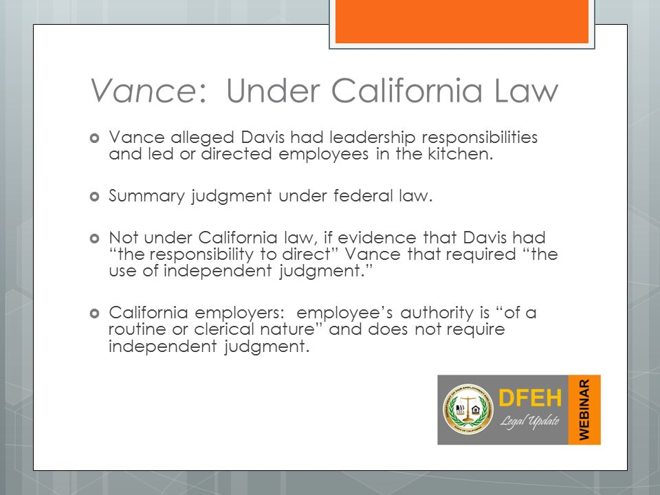 Vance: Under California Law