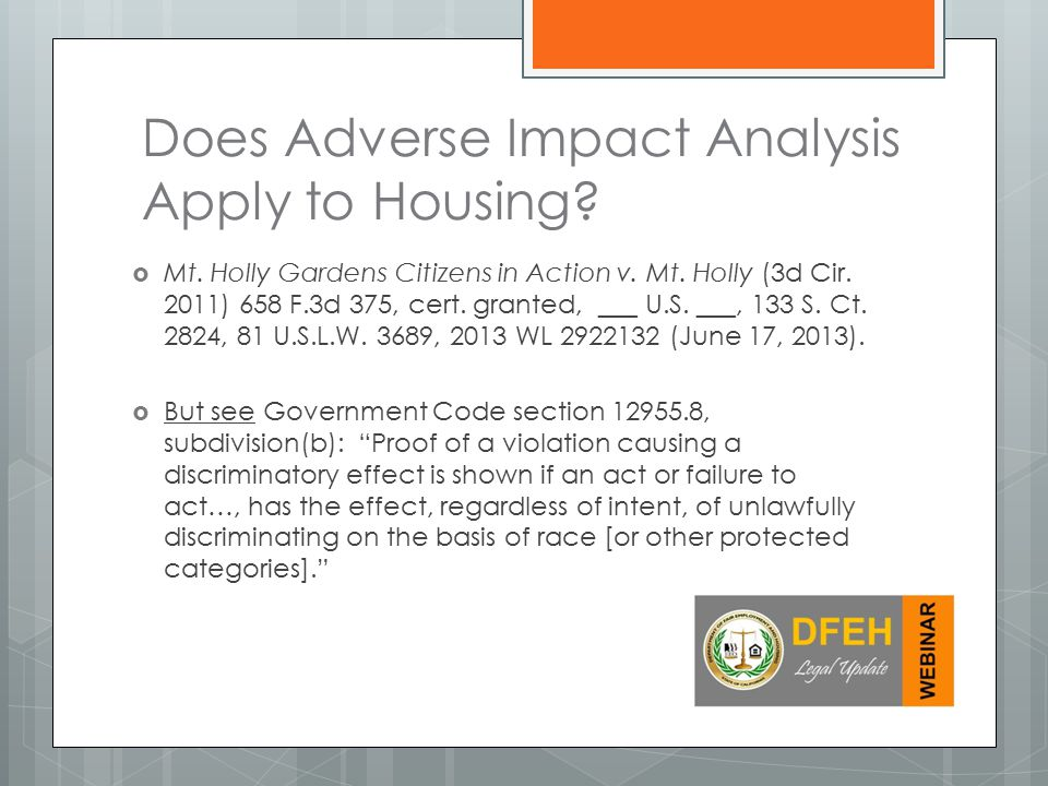 Does Adverse Impact Analysis Apply to Housing