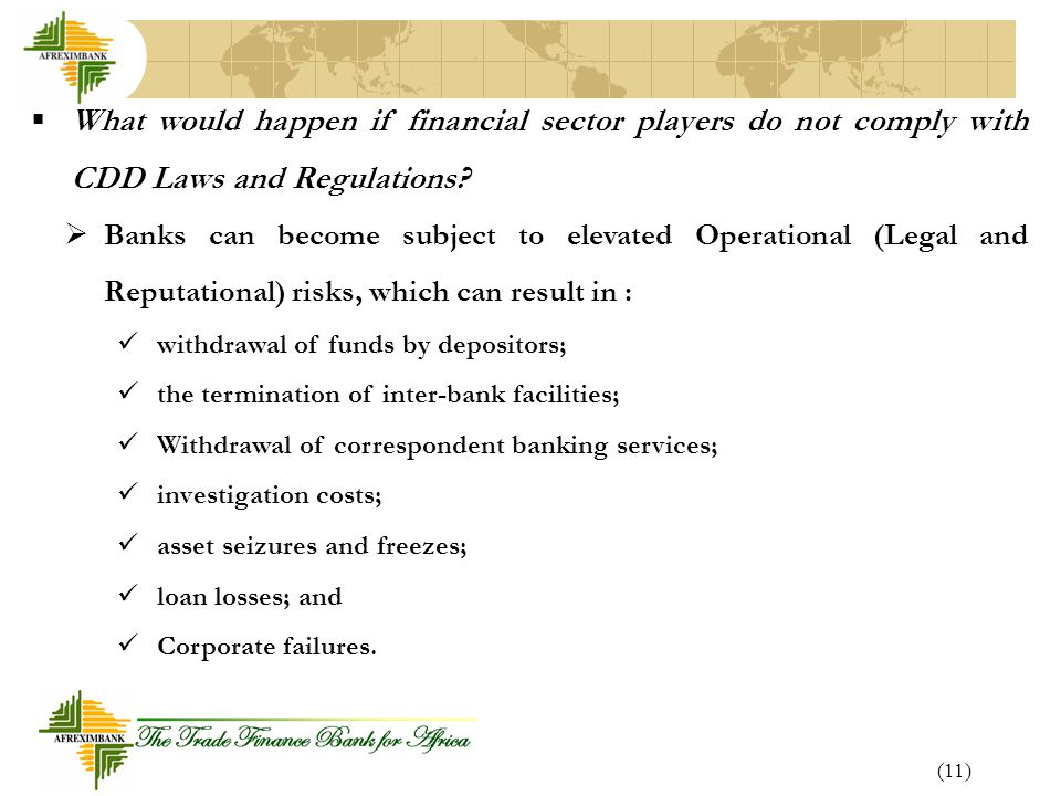 What would happen if financial sector players do not comply with CDD Laws and Regulations