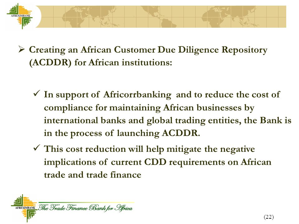Creating an African Customer Due Diligence Repository (ACDDR) for African institutions: