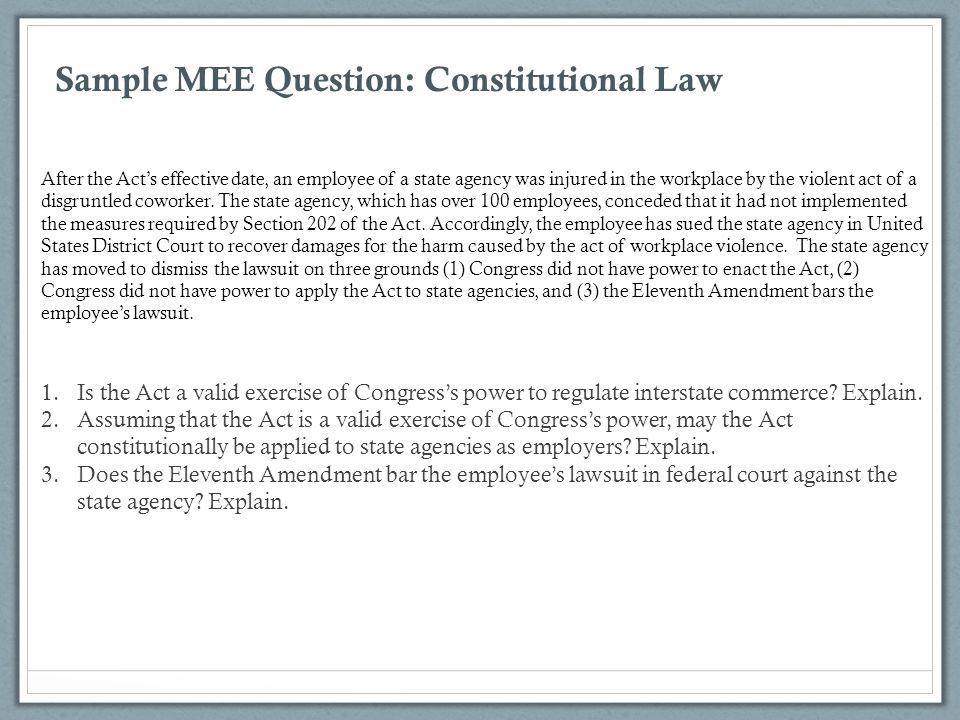 Sample MEE Question: Constitutional Law