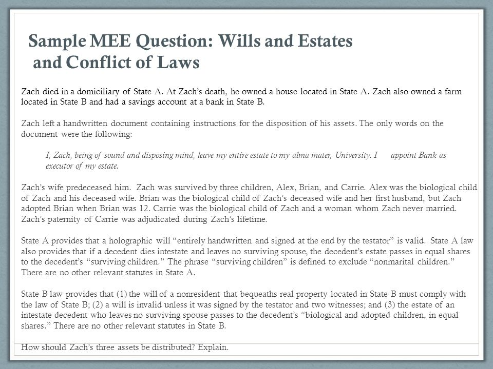 Sample MEE Question: Wills and Estates and Conflict of Laws