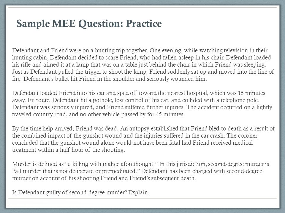Sample MEE Question: Practice