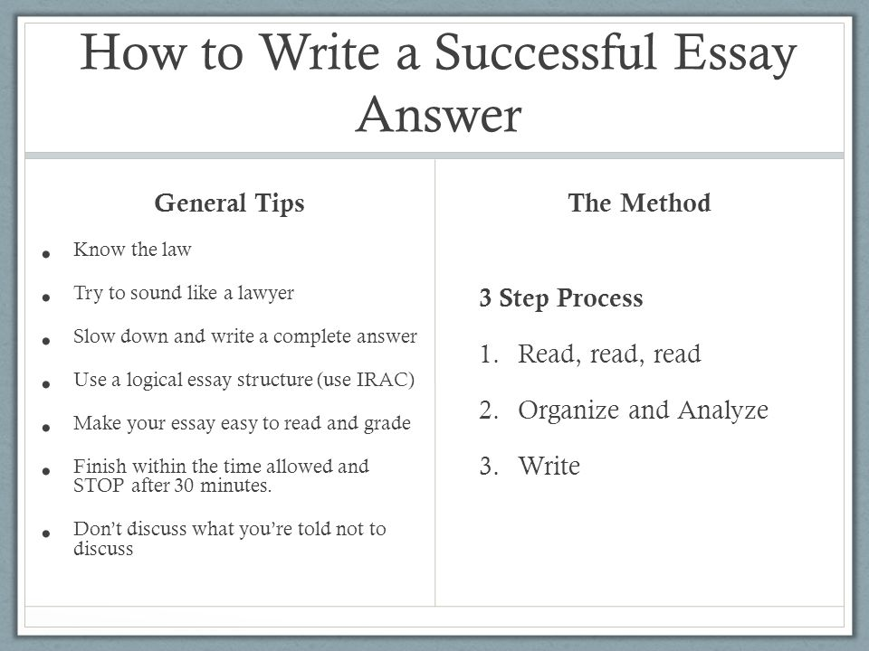 How to Write a Successful Essay Answer