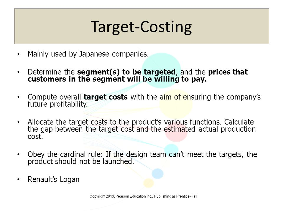 Target-Costing Mainly used by Japanese companies.