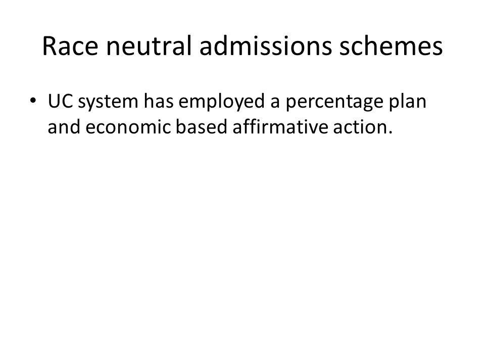Race neutral admissions schemes