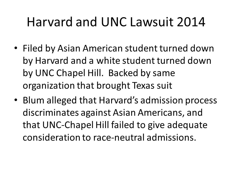 Harvard and UNC Lawsuit 2014