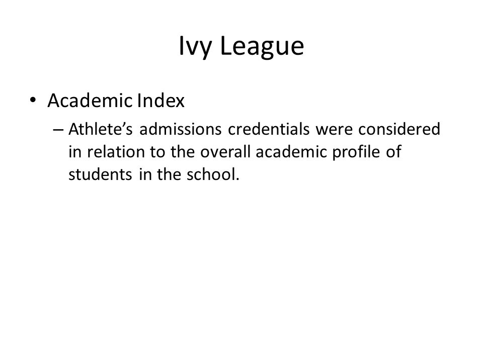 Ivy League Academic Index