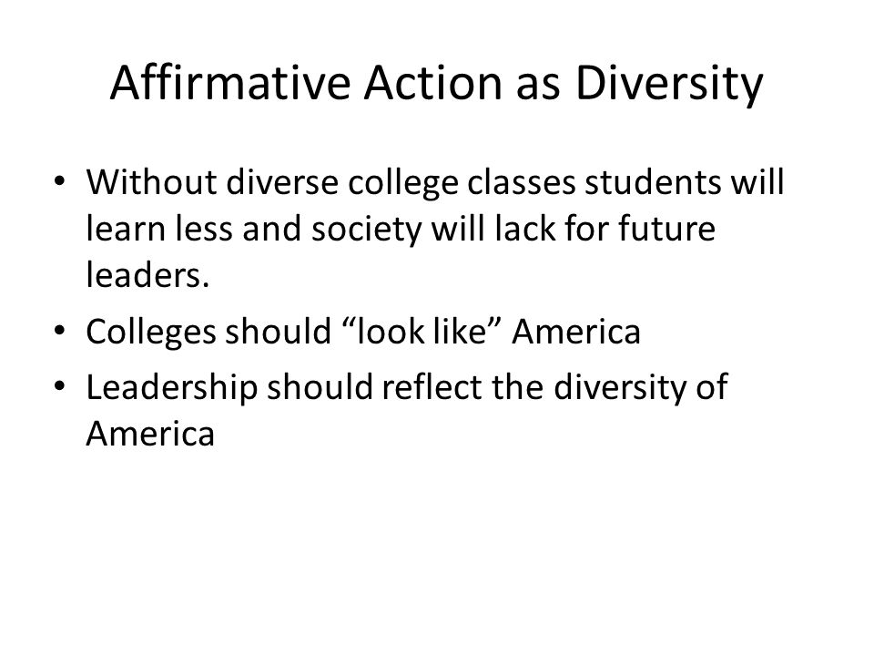 Affirmative Action as Diversity
