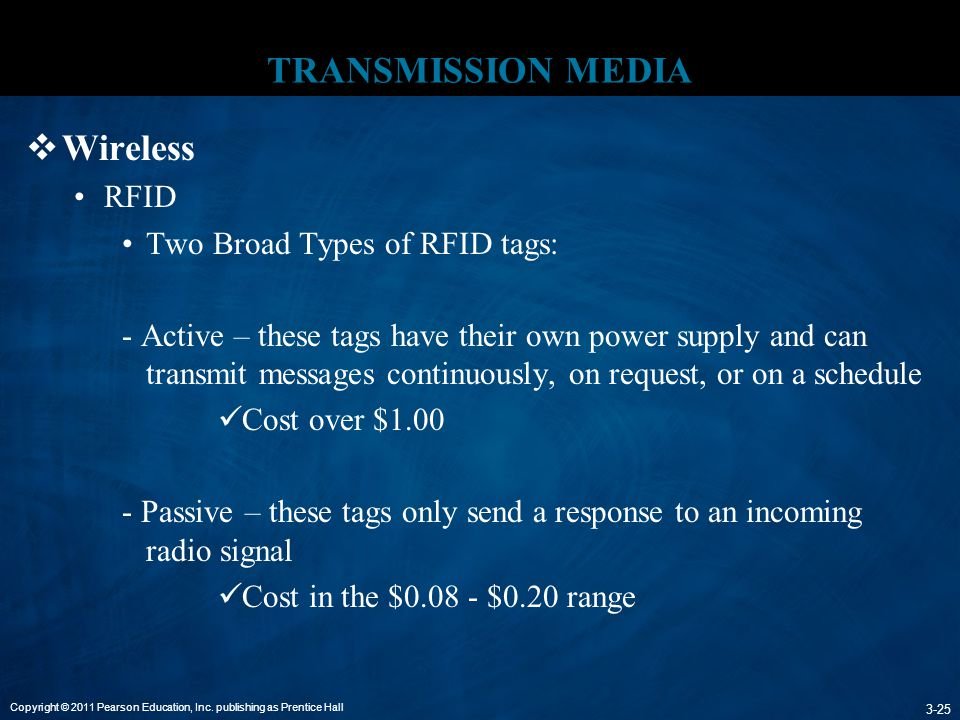 TRANSMISSION MEDIA Wireless RFID Two Broad Types of RFID tags: