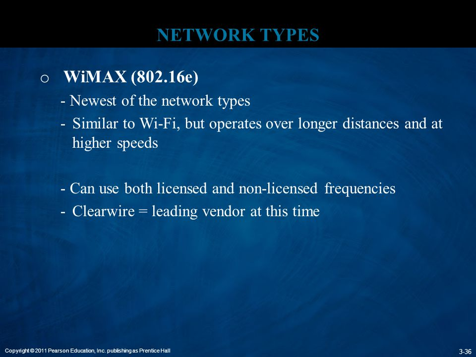NETWORK TYPES WiMAX (802.16e) - Newest of the network types
