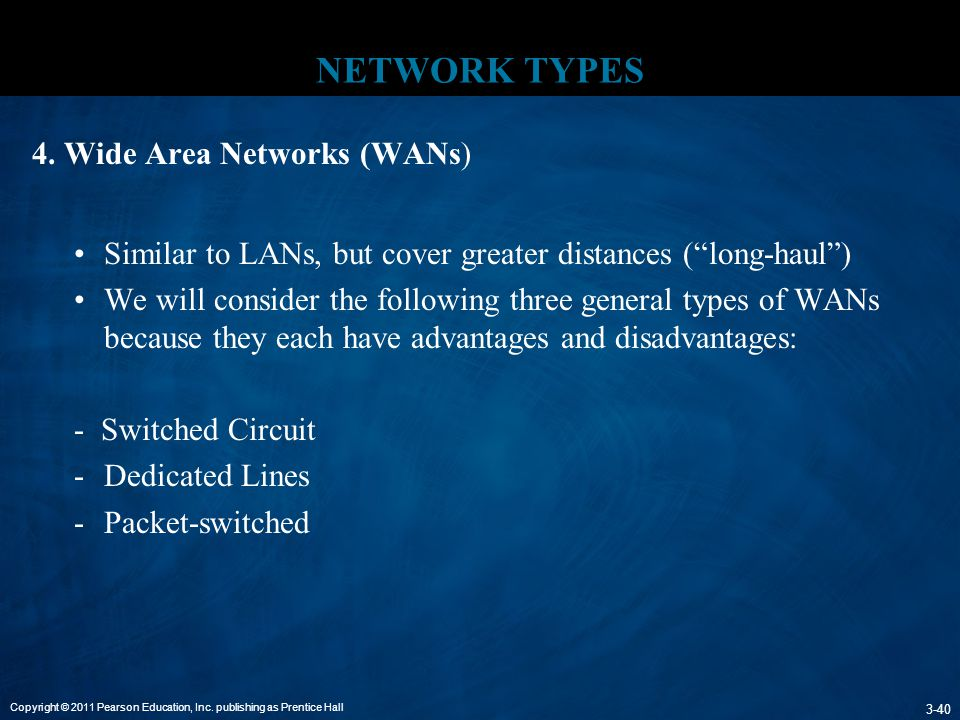 NETWORK TYPES 4. Wide Area Networks (WANs)