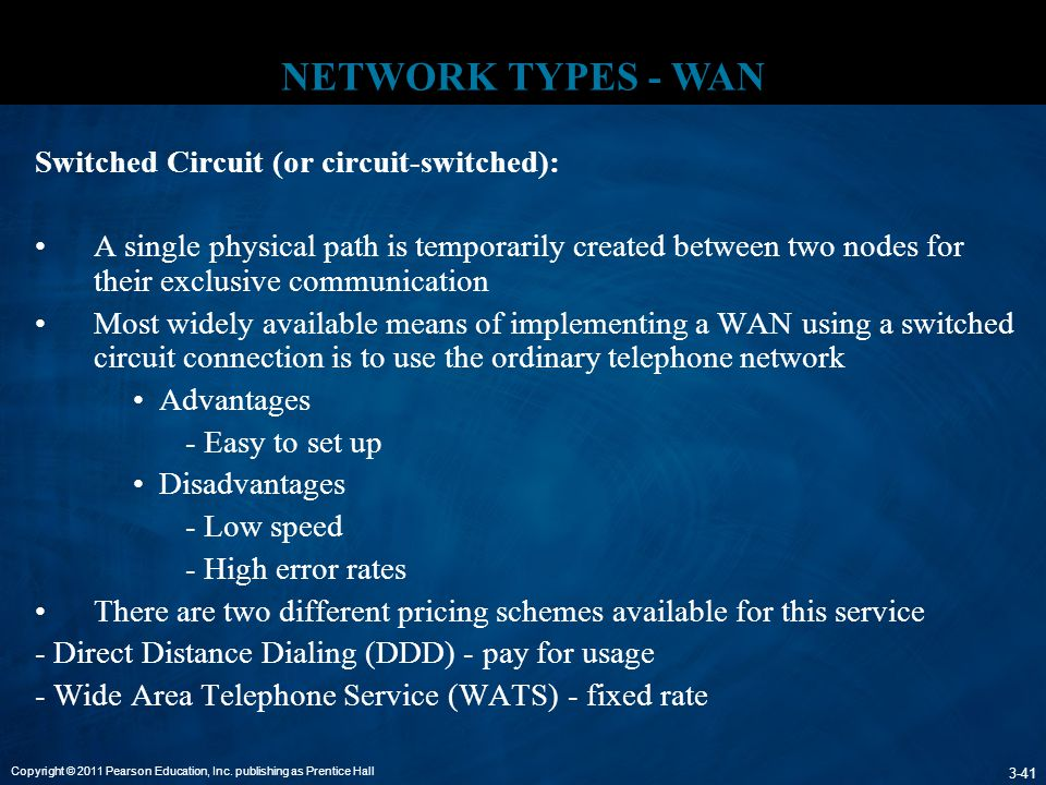 NETWORK TYPES - WAN Switched Circuit (or circuit-switched):