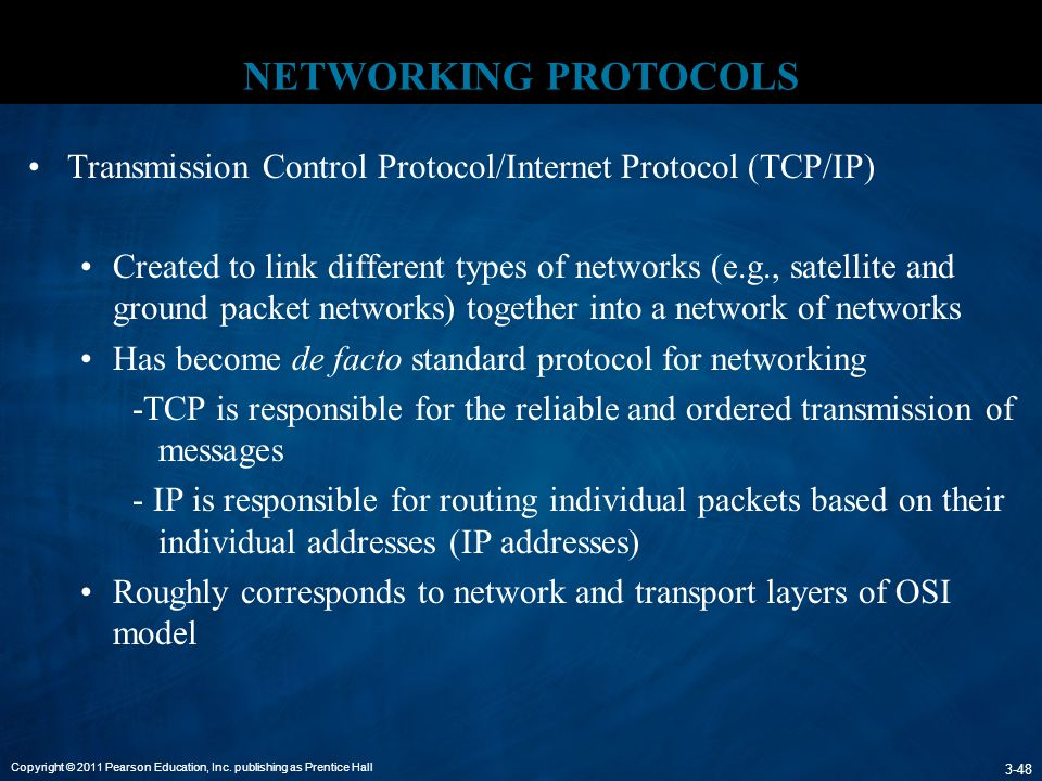 NETWORKING PROTOCOLS Transmission Control Protocol/Internet Protocol (TCP/IP)