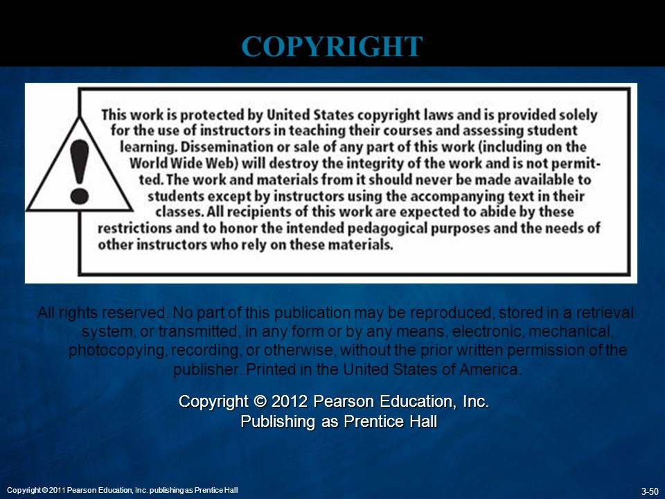 Copyright Copyright © 2012 Pearson Education, Inc.